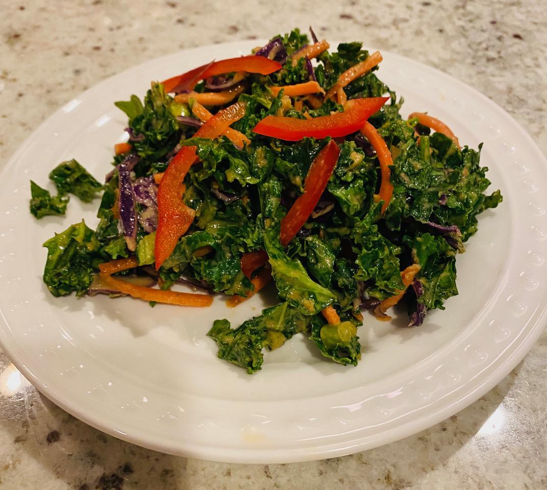 Kale Salad with Orange-Ginger Dressing