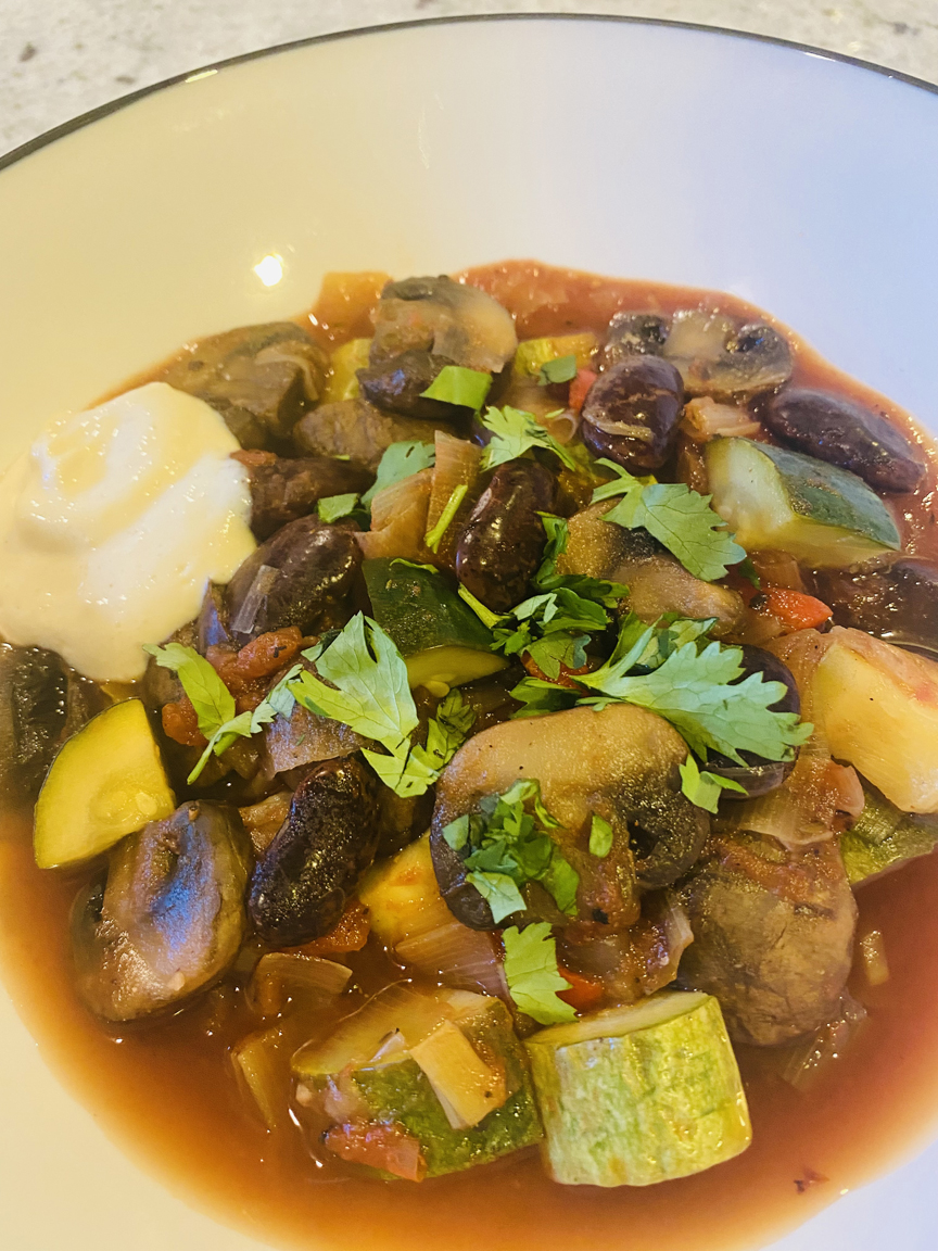 Scarlet Runner (or White) Bean & Mushroom Ragout